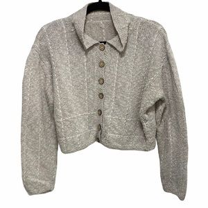 Oat Colour Hand Knit Cropped Button Up Sweater